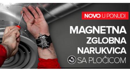 Magnetni zglobna narukvica sa pločicom