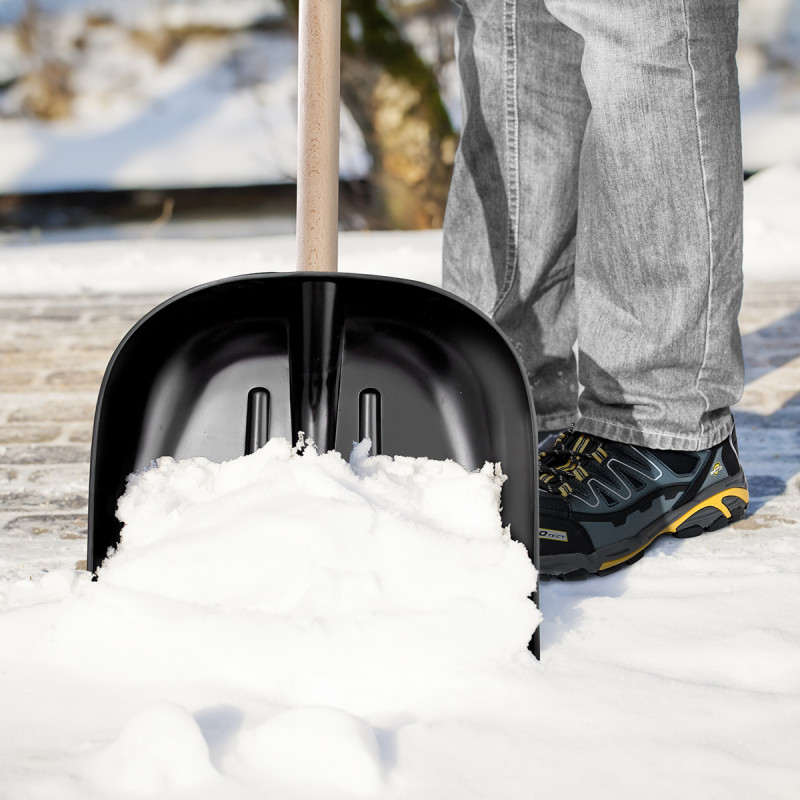Lopata za sneg, 40x40cm, crna, ojačana limom